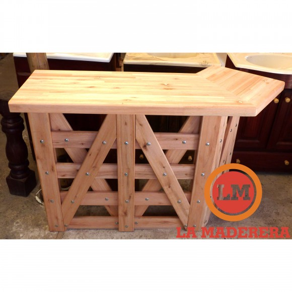 Mesada con bajo mesada estilo tranquera realizado en for Mesada de madera para cocina