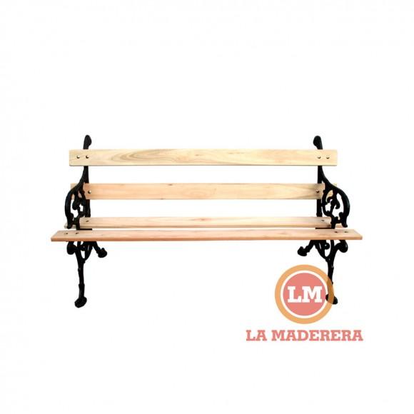 Banco jard n exterior tablas de madera semi dura y for Banco de jardin de hierro y madera