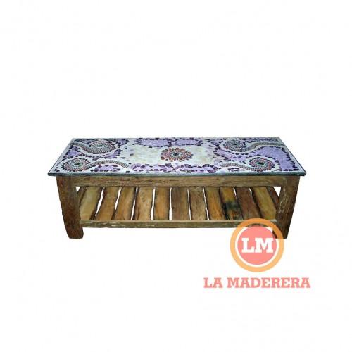 Mesa ratona base durmiente y tapa con mayolicas 0,40 x 1,30 mt (3)