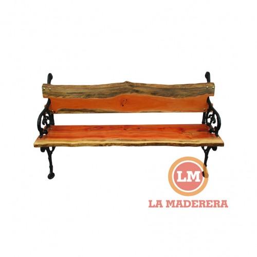 Banco jardín patas hierro de fundición tablas rústicas de quebracho colorado (1) + logo