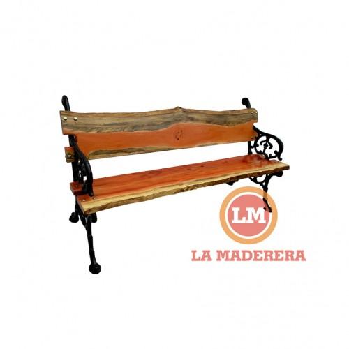 Banco jardín patas hierro de fundición tablas rústicas de quebracho colorado (2) + logo