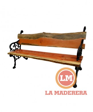 Banco jardín patas hierro de fundición tablas rústicas de quebracho colorado (3) + logo
