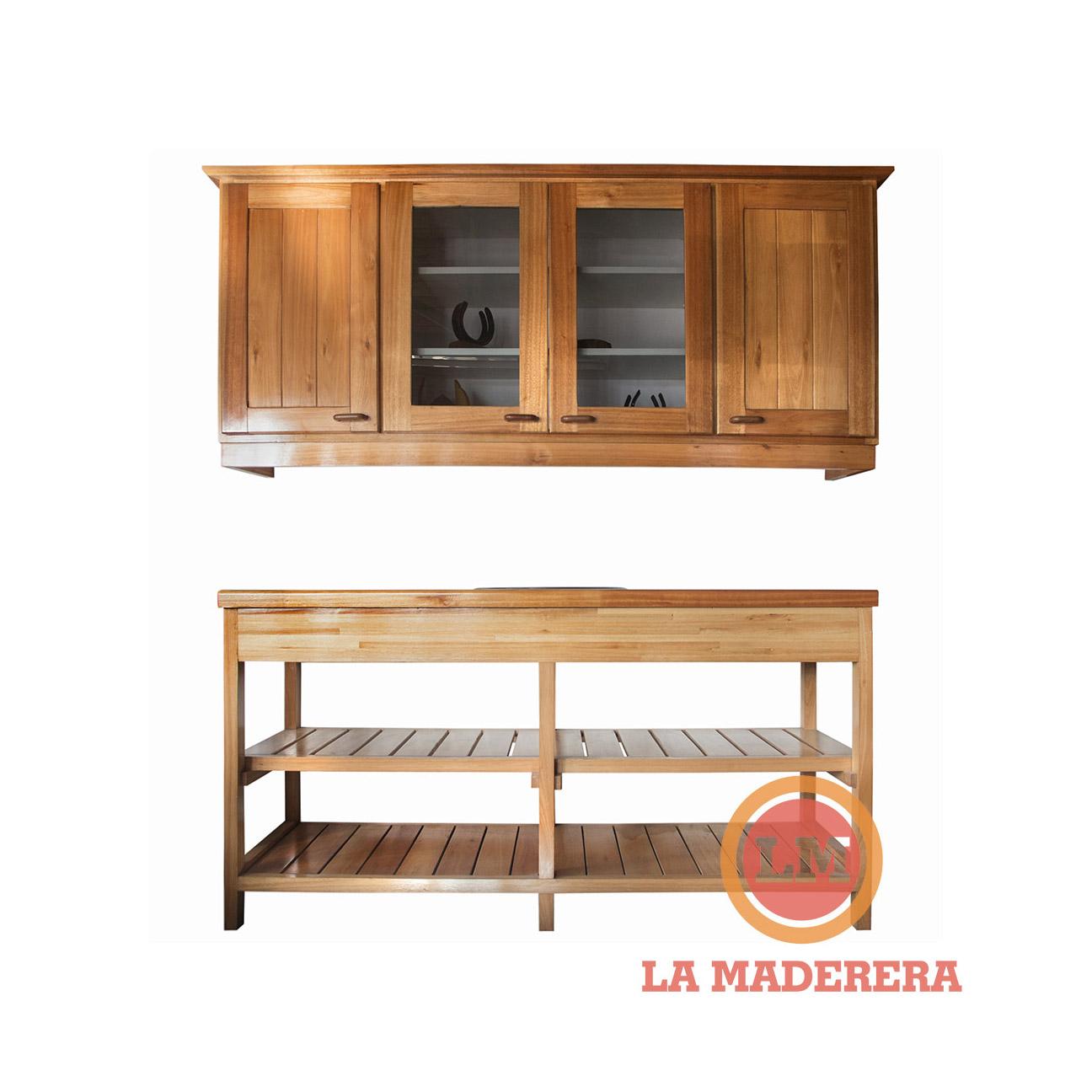 Mueble bajo mesada + alacena con bacha incluida en saligna grandis