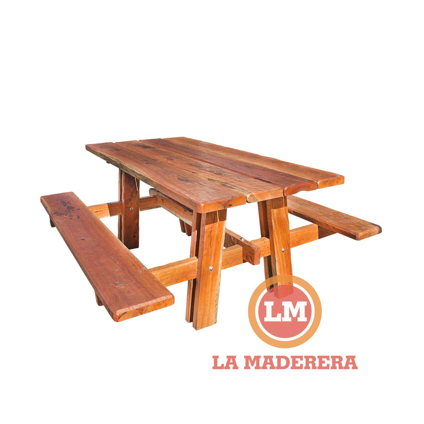 Mesa bancos tipo camping en quebracho colorado hachado for Mesa con bancos de madera para cocina
